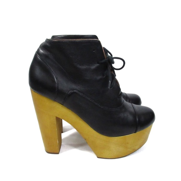 Ecoté Black Leather Lace Up Ankle Boots Wood Heel